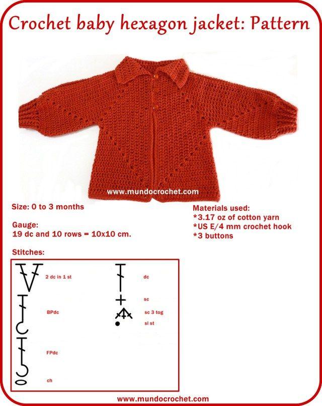 Crochet hexagon jacket/Crochet hexagon sweater | Crochet ropa ...