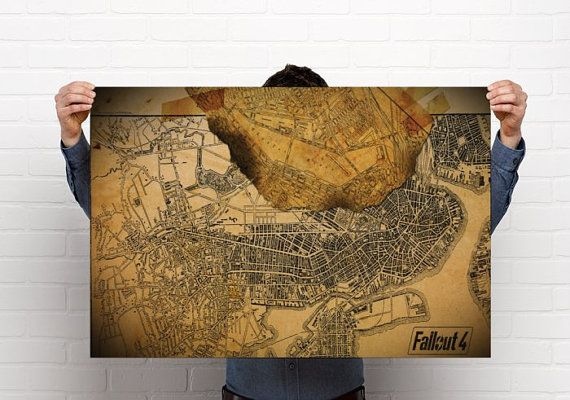 image relating to Fallout 4 Printable Map named Fallout 4 Map //Pip Boy // fallout 4 Print// Outstanding as a result of