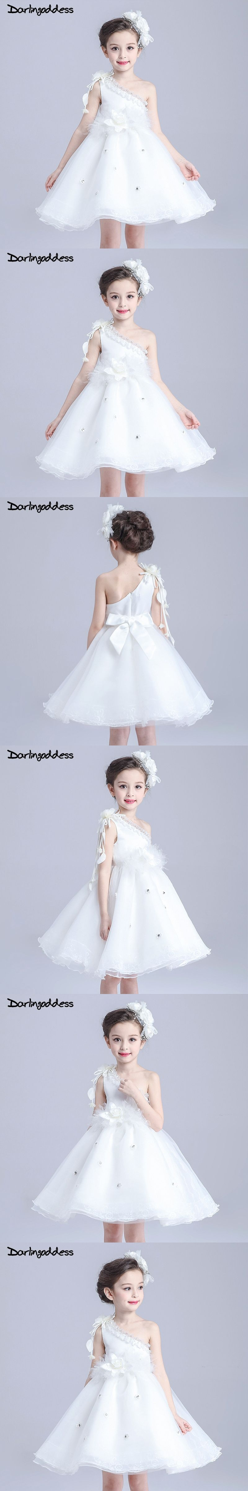 Real photos cheap white one shoulder flower girl dresses knee