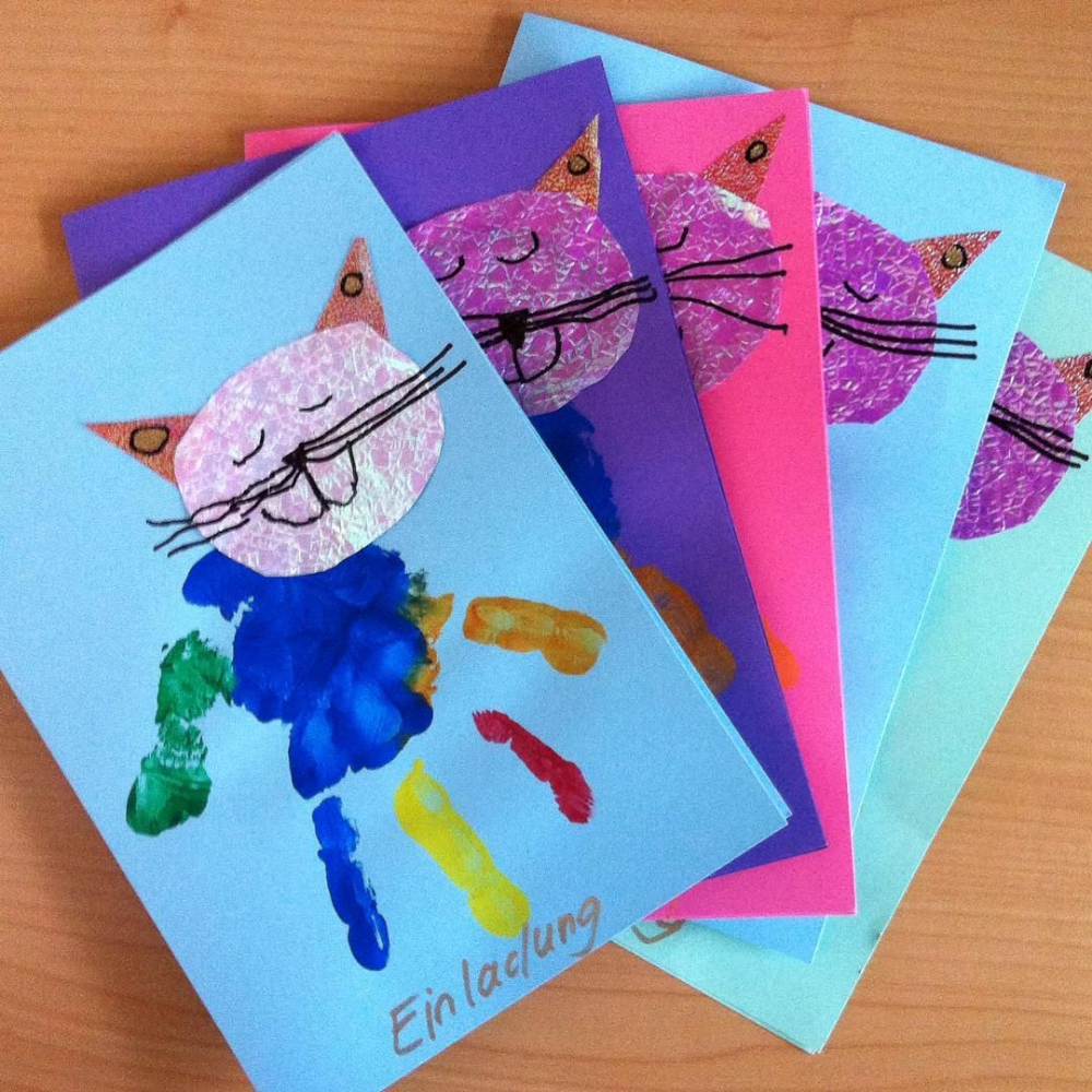 Pin Von Bea Trice Auf Bastelarbeiten Katzen Geburtstag Einladung Einladungskarten Kindergeburtstag Basteln 5 Jahre #katzengeburtstag
