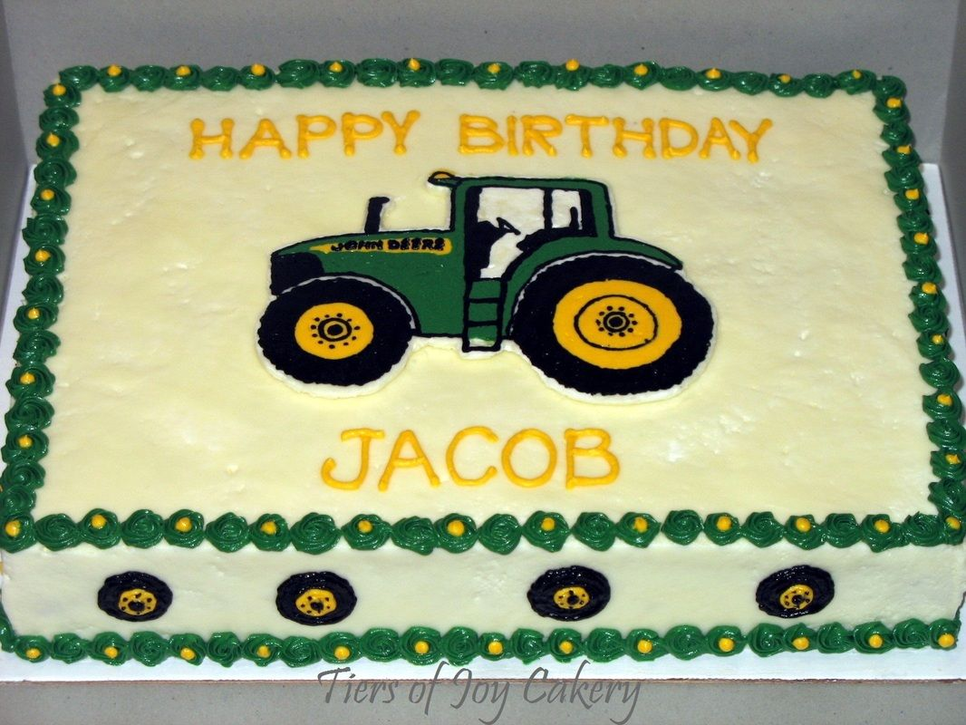 John Deere Tractor Birthday Cake With Hand Piped Tractor And Tires