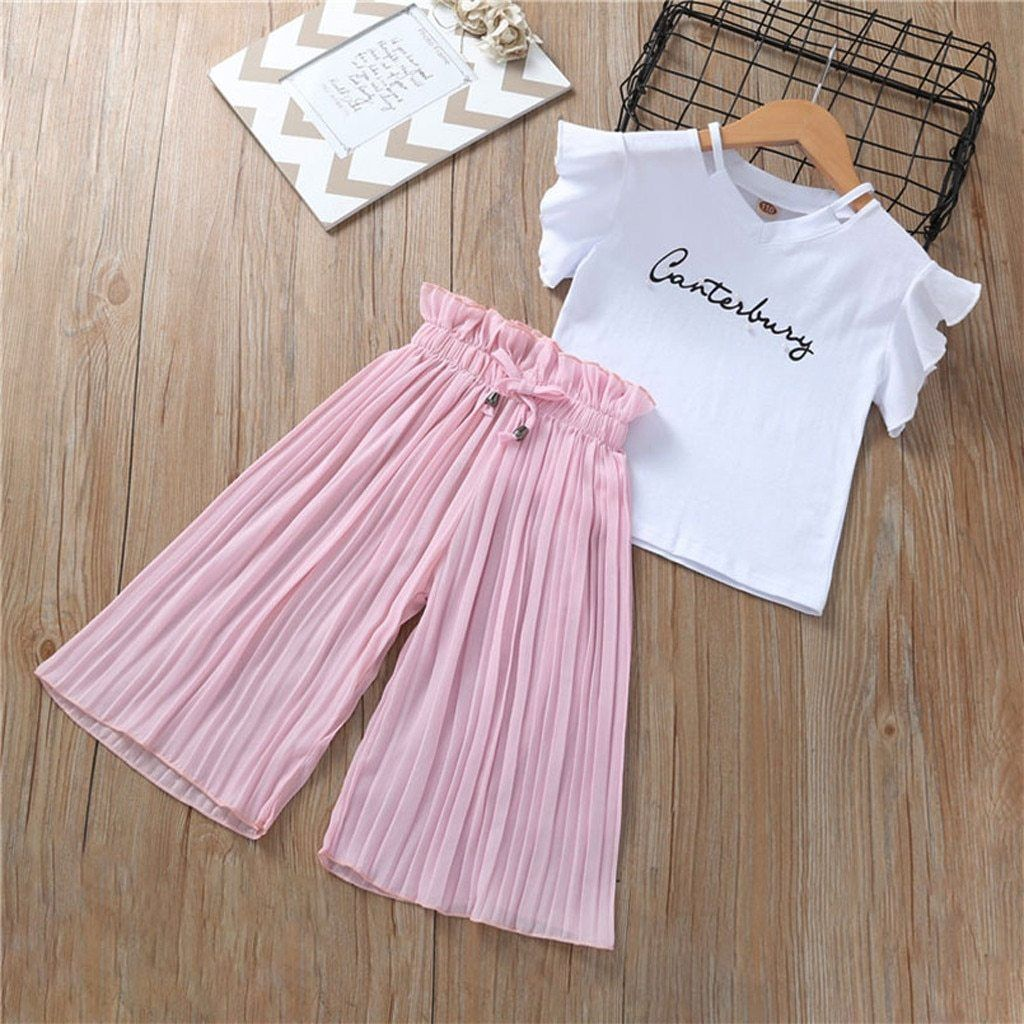 Little Girls Letters T-shirt and Ruffle Cropped Pants Outfits with Headband