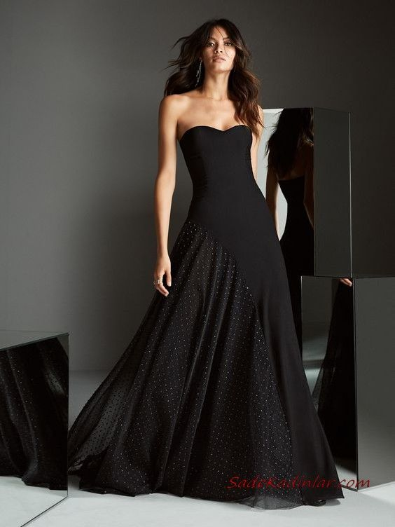 2020 Pronovias Abiye Modelleri Siyah Uzun Straplez Kalp Yaka Klos Etekli The Dress Aksamustu Giysileri Kisa Etekli Elbiseler
