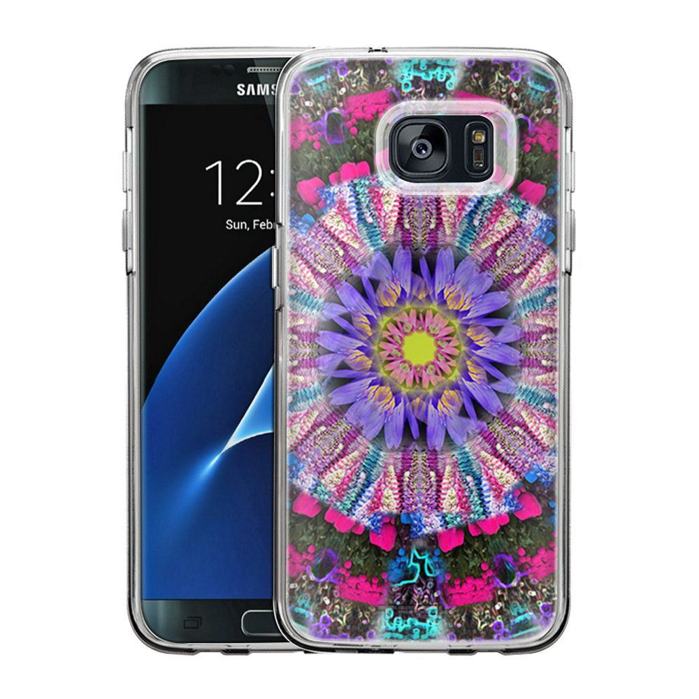 Samsung Galaxy S7 Edge Mandala Flower Purple Yellow on White Slim Case