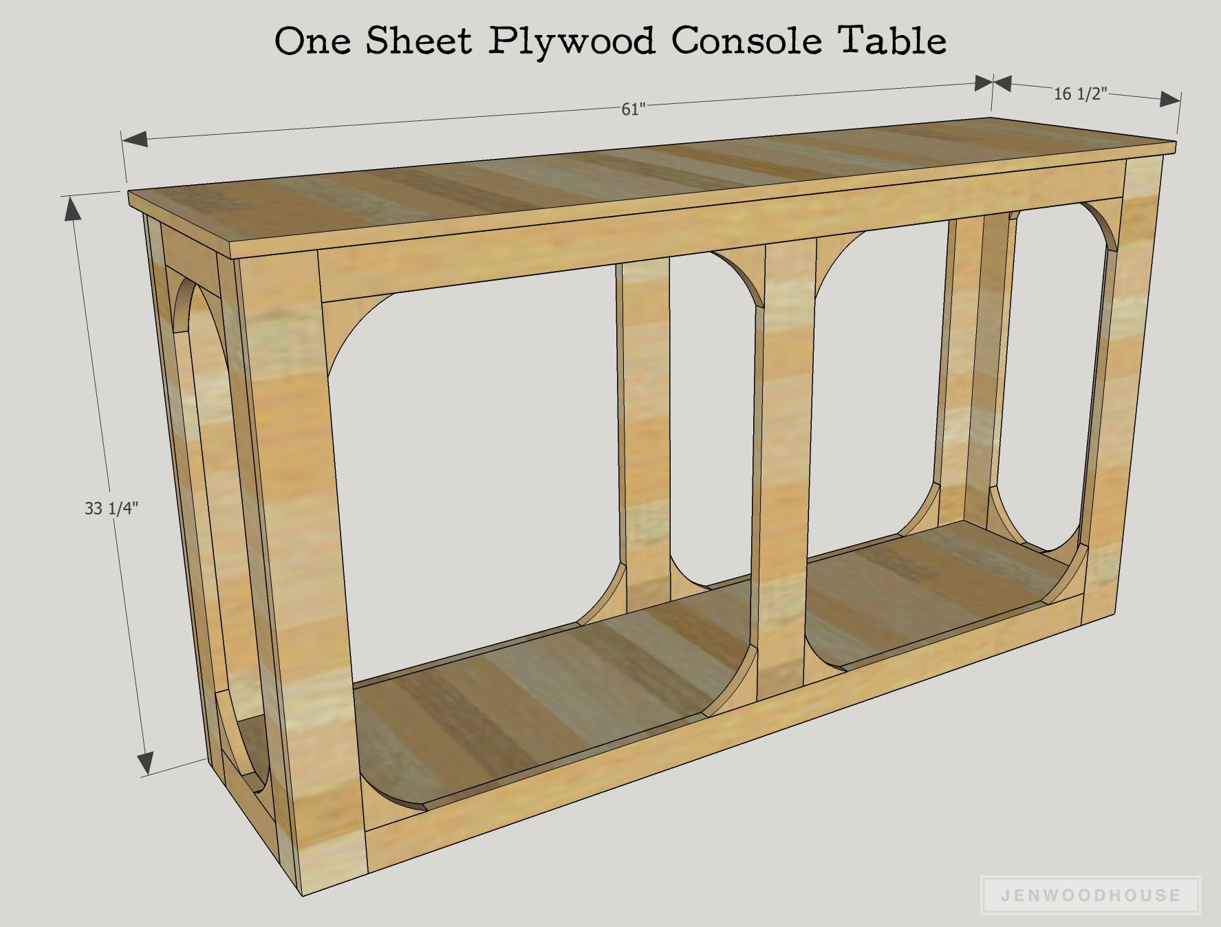 Diy One Sheet Plywood Console Table Diy Console Table All Wood Furniture Diy Table