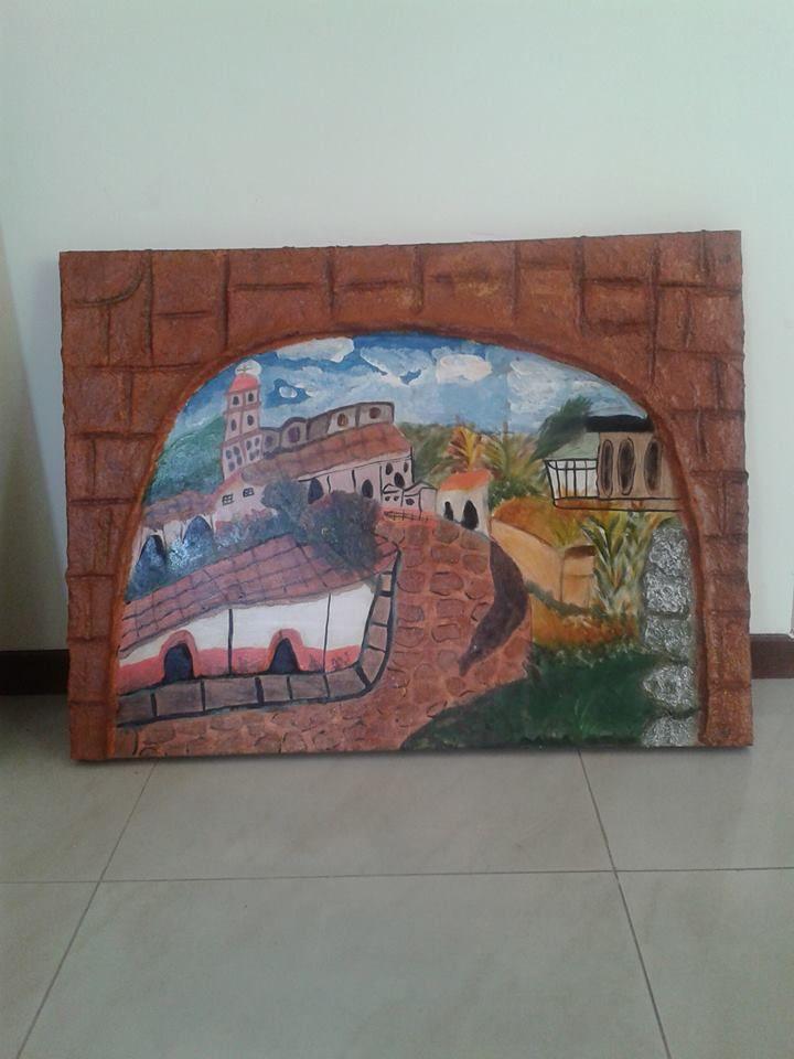 Cuadro con acrilico, textura y marco de papel mache | Arte en madera ...