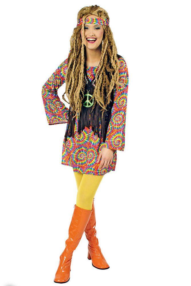 hippie kleid hippie kost m flower power 60er 70er jahre psycho damen kost m kk kleidung. Black Bedroom Furniture Sets. Home Design Ideas