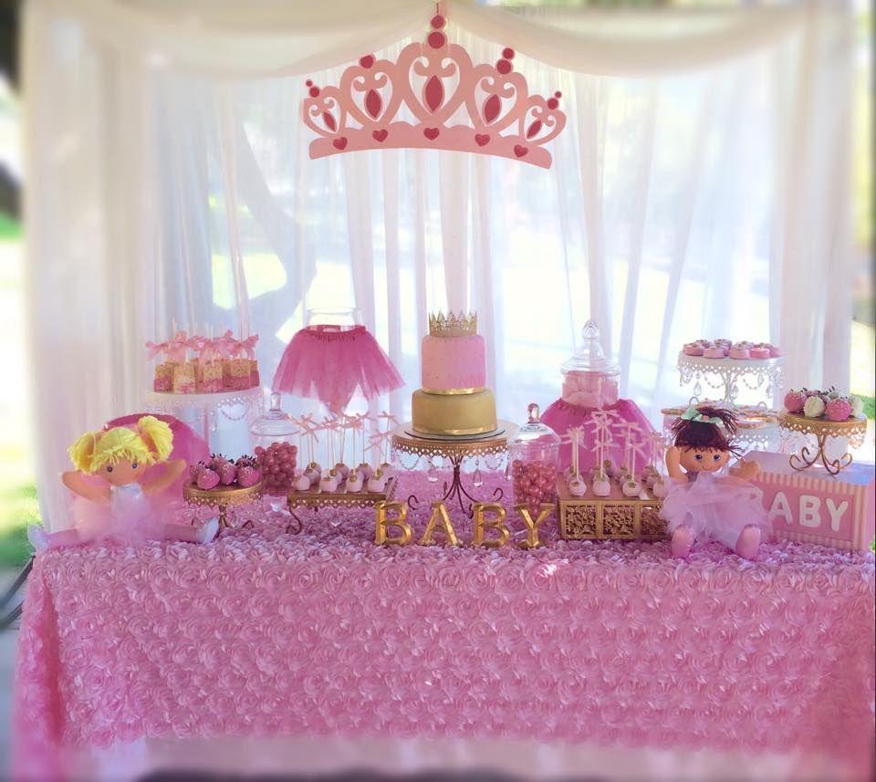 Girls Princess Baby Shower Centerpiece With Lavender & Gold  |Princess Girl Baby Shower Ideas