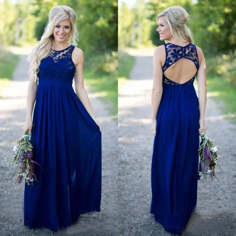 2ae84a063e176 2019 Country Style Navy Blue Bridesmaid Dresses Sheer Crew Neck Lace Top  Short Sleeves Chiffon Backless Long Maid Of The Honor Dresses Short Lace  Bridesmaid ...