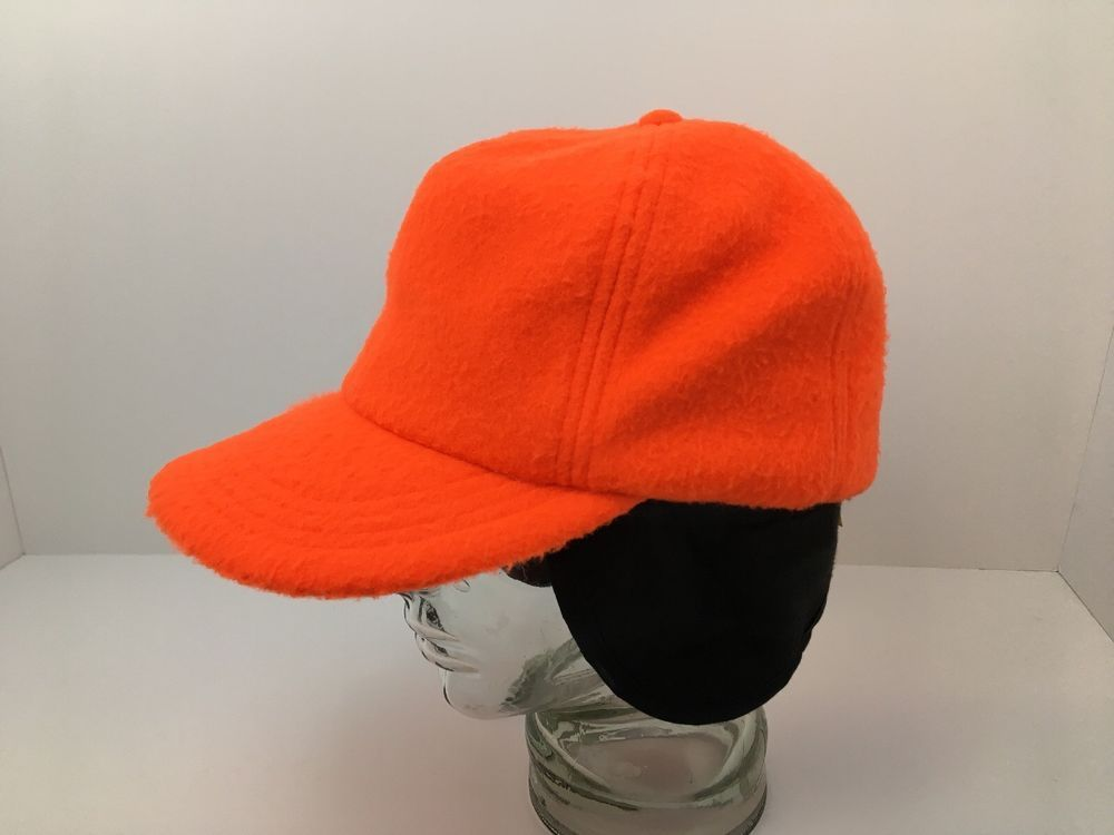 Vintage USA Fleece Ball Cap Hat Blaze Orange Ear Flaps Mens Large Excellent   Unbranded 8881ef591415
