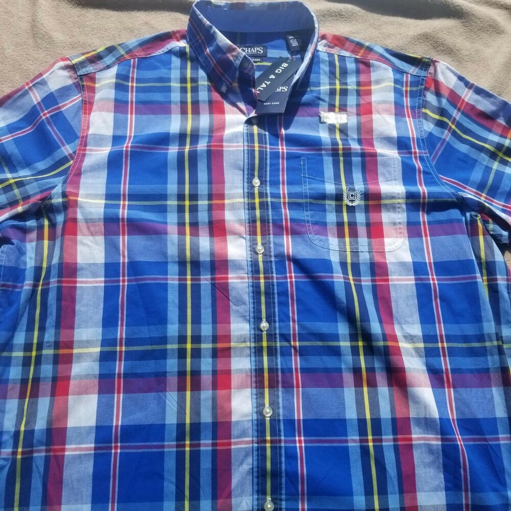 Chaps Mens Plaid Fashion Long Sleeve Sport Shirt