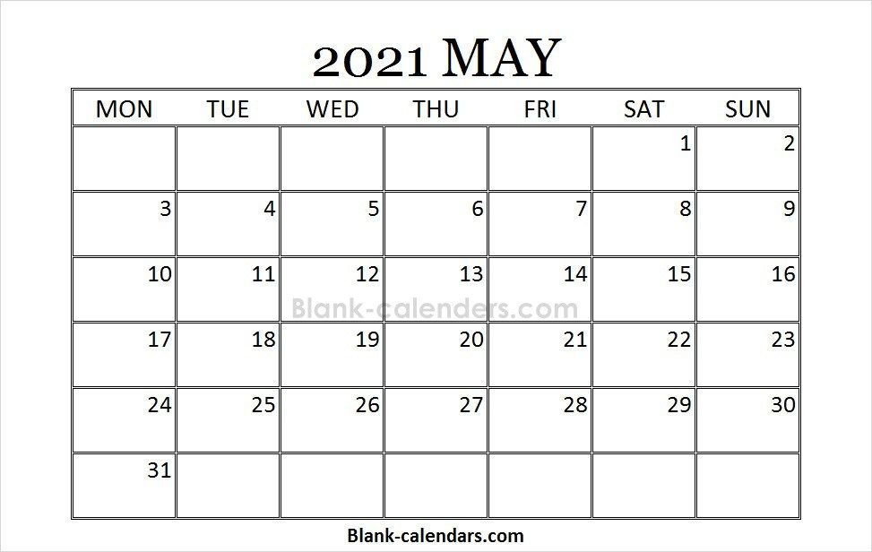 Blank Printable May Calendar 2021 Calendar Template September Calendar February Calendar