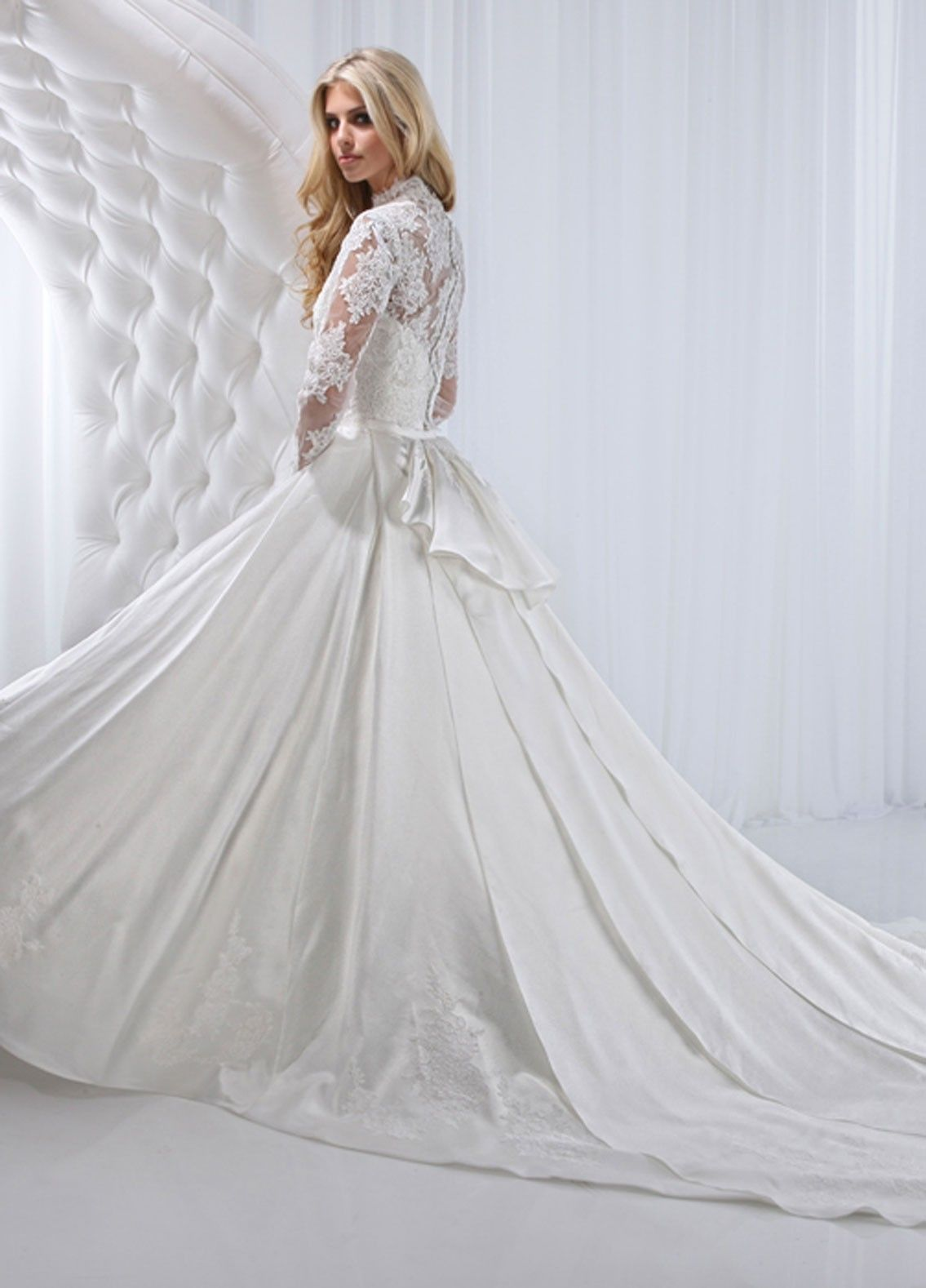 Satin Fabric High Fabric With Applique Embellished Wedding Dress ...
