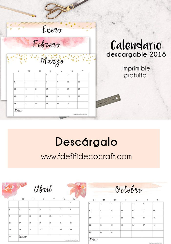Calendario 2018 para imprimir gratis | Imprimible | Descargable ...