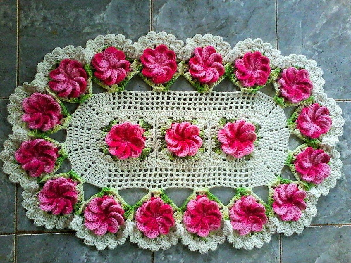 Tapete flores crista de galo crochet crochet flowers for Tapetes de crochet