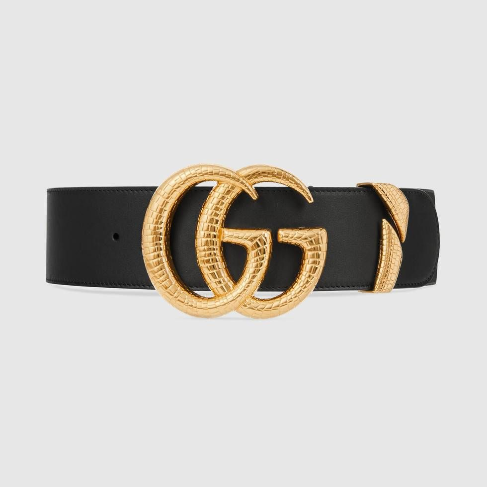 Gucci Leather belt with Double G buckle Gucci leather belt