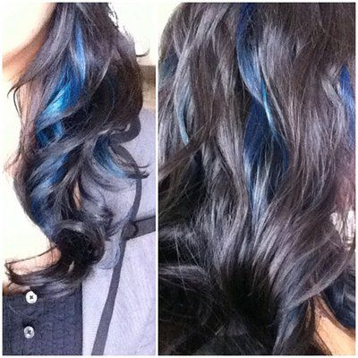 Long Dark Hair With Peek A Boo Highlights Blue Peek A Boo