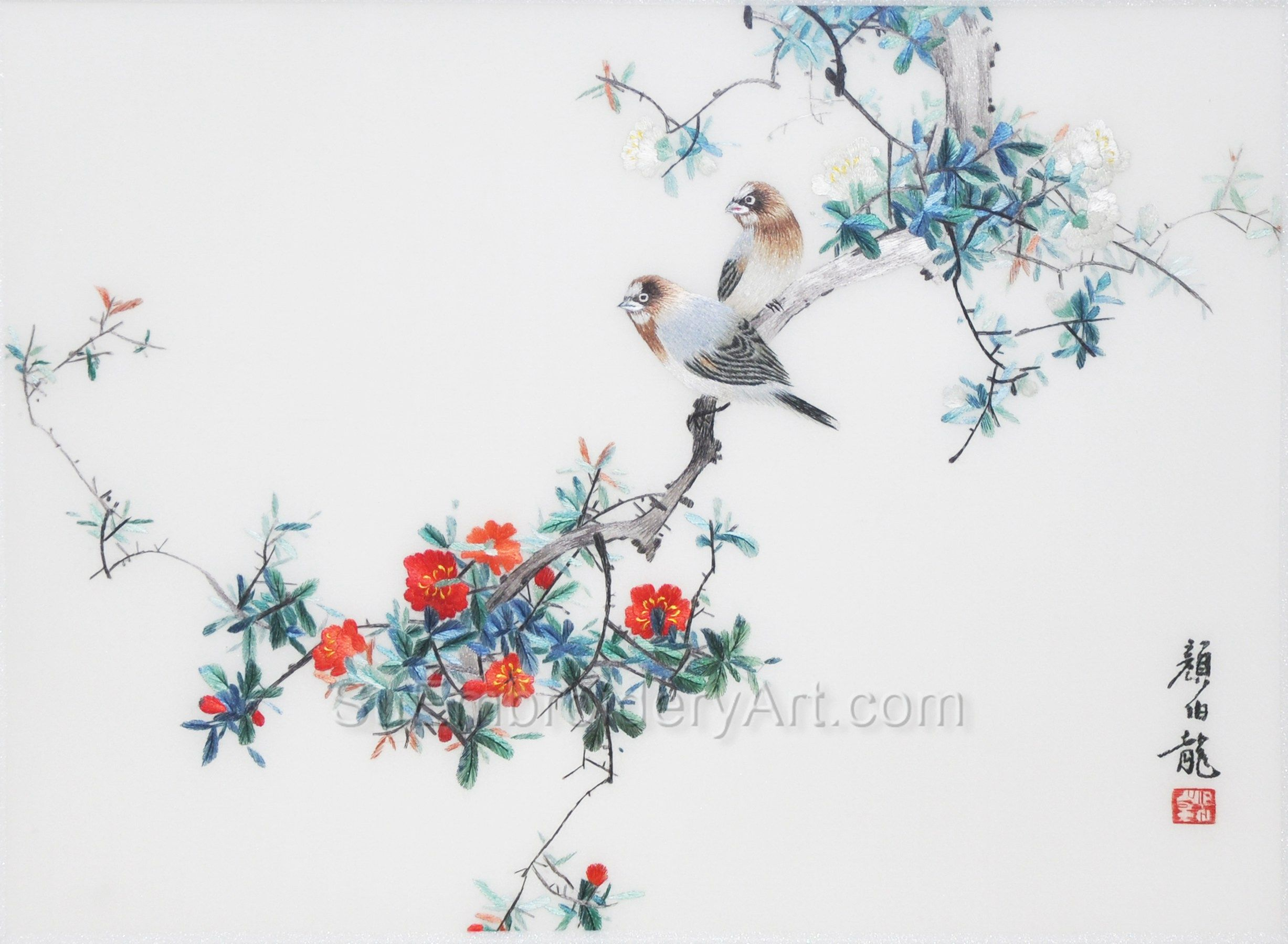 Pin By Silk Embroidery Art On Birds And Flowers Art Birds Map