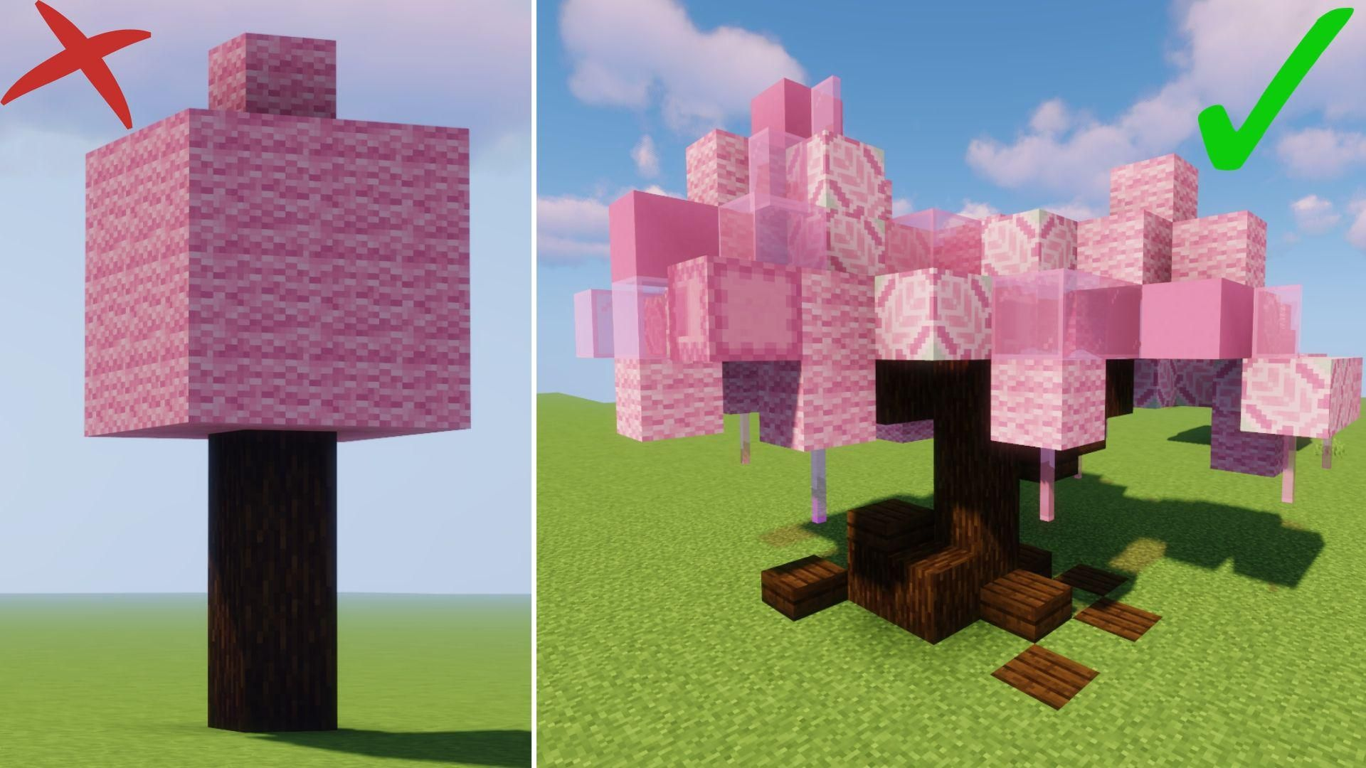 I Ve Been Building A Lot Of Sakura Cherry Blossom Trees Lately So I Decided To Make A Tutorial About Minecraft Designs Minecraft Creations Minecraft Projects