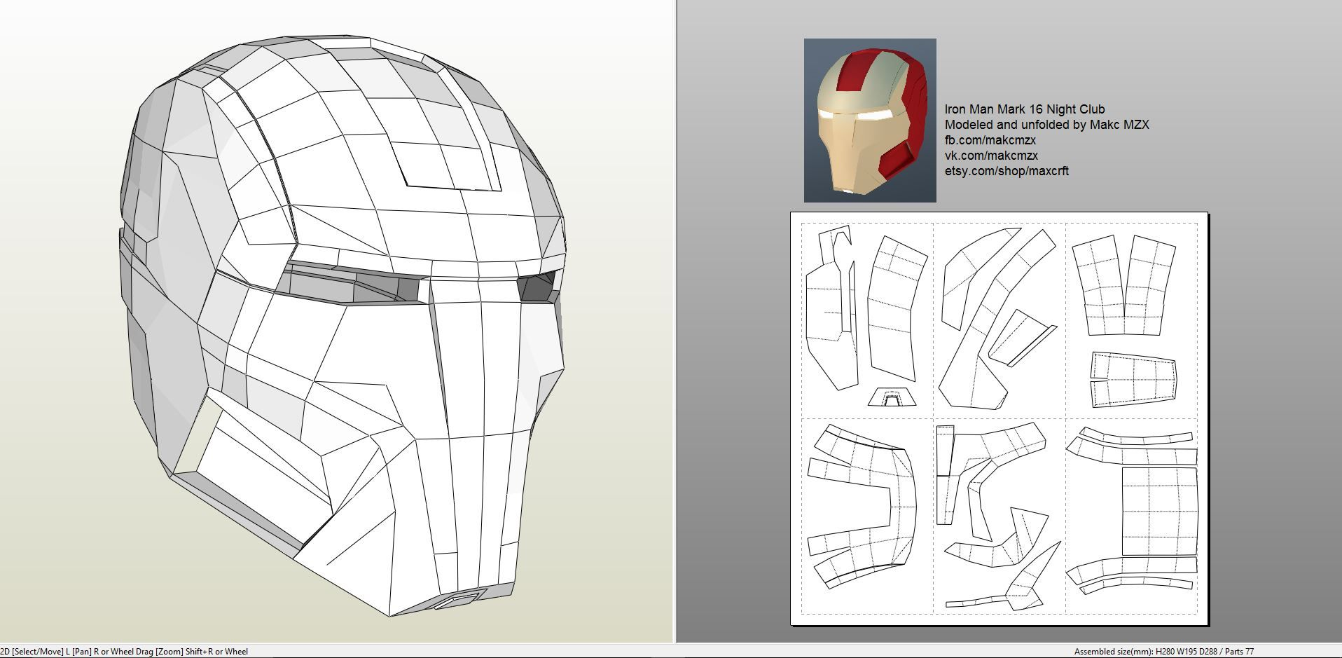Papercraft Pdo File Template For Iron Man Mark 16 Helmet Foam Iron Man Helmet Iron Man Mask Iron Man