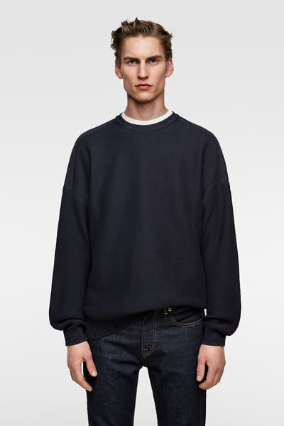enorme sconto 1b3f5 88444 ZARA - Male - Oversized sweater - Navy blue - L | Hussam in ...