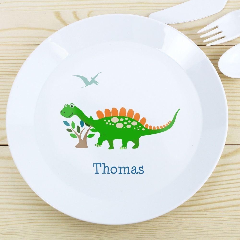 PERSONALISED Childrens Plate DINOSAUR. Plastic KIDS Dinner Plate. Childs Name  sc 1 st  Pinterest & PERSONALISED Childrens Plate DINOSAUR. Plastic KIDS Dinner Plate ...