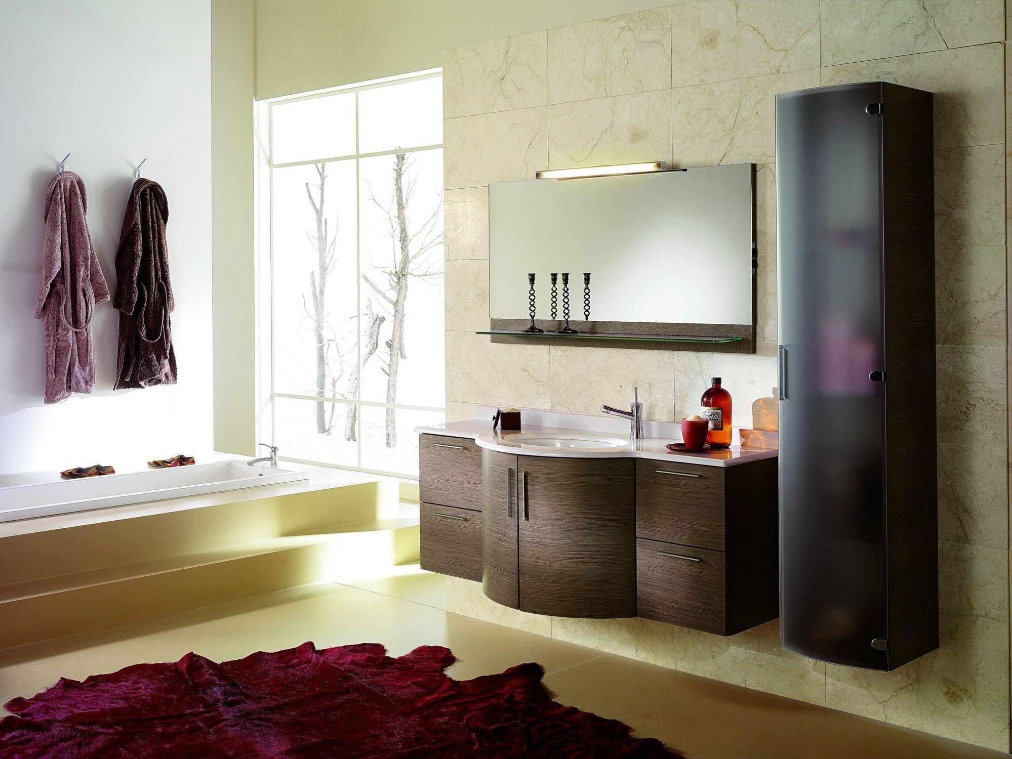 Bathroom Elegant Contemporary Bathroom With Classy Brown Tile And Amazing Designer Bathroom Cabinet Design Ideas