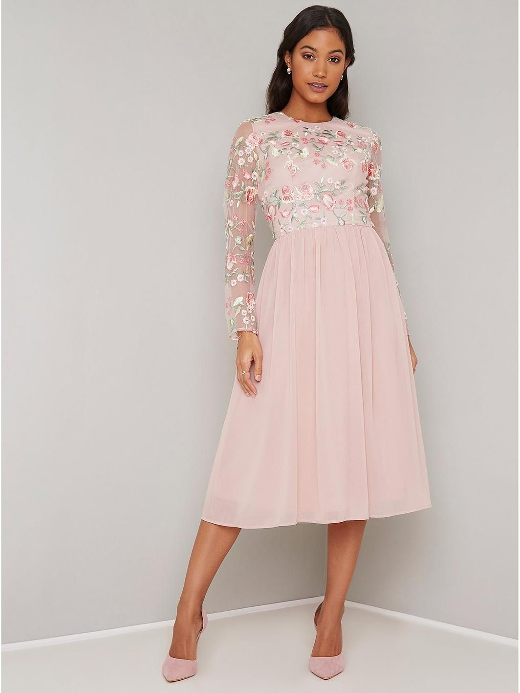 81dc86592d Chi Chi London Lace Top Midi Dress With Pleated Skirt