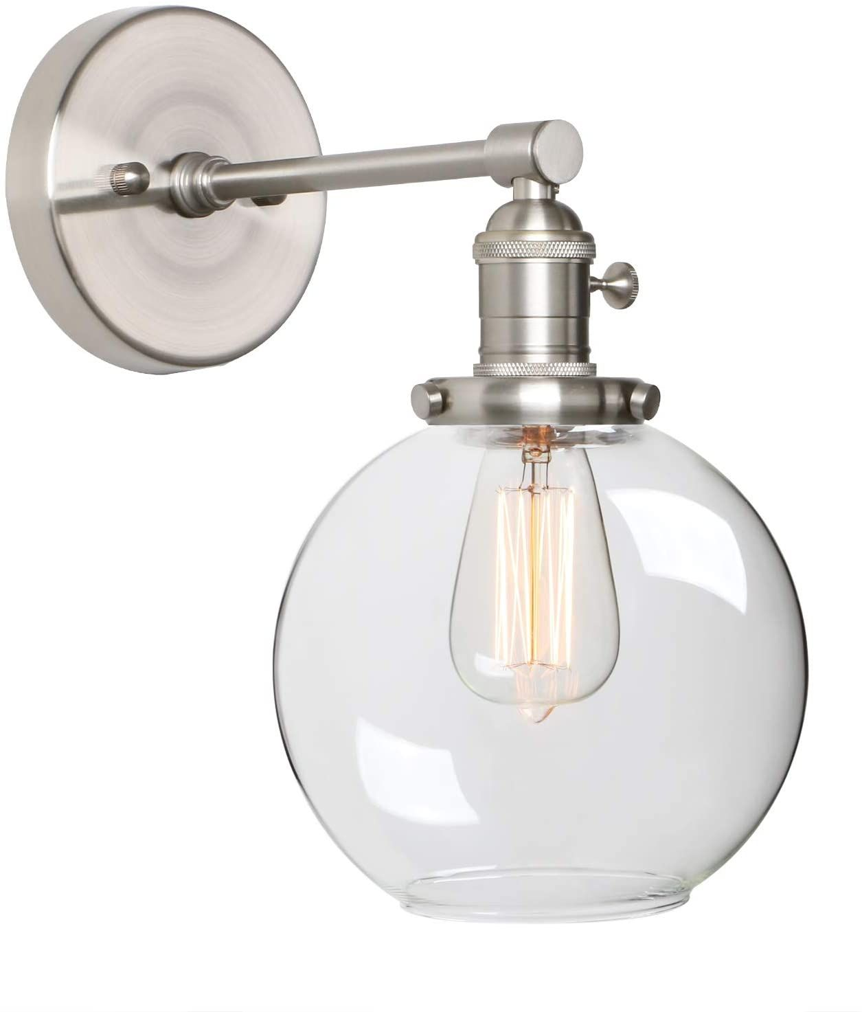 Phansthy Globe Wall Sconce Brushed Nickel Finished 1 Light Bathroom Vanity Light With 7 87 Inches Cl In 2020 Bathroom Vanity Lighting Vanity Lighting Bathroom Lighting