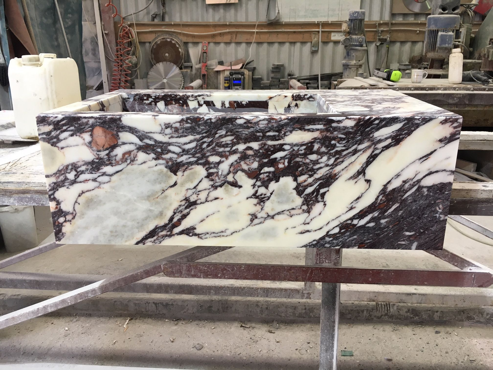 Making A Basin In Calacatta Viola Polished Marble Www Stoneofdestinydesign Co Uk At Stone Of Destiny Unit 1 Lines Fa Calacatta Bathroom Renovation Stone