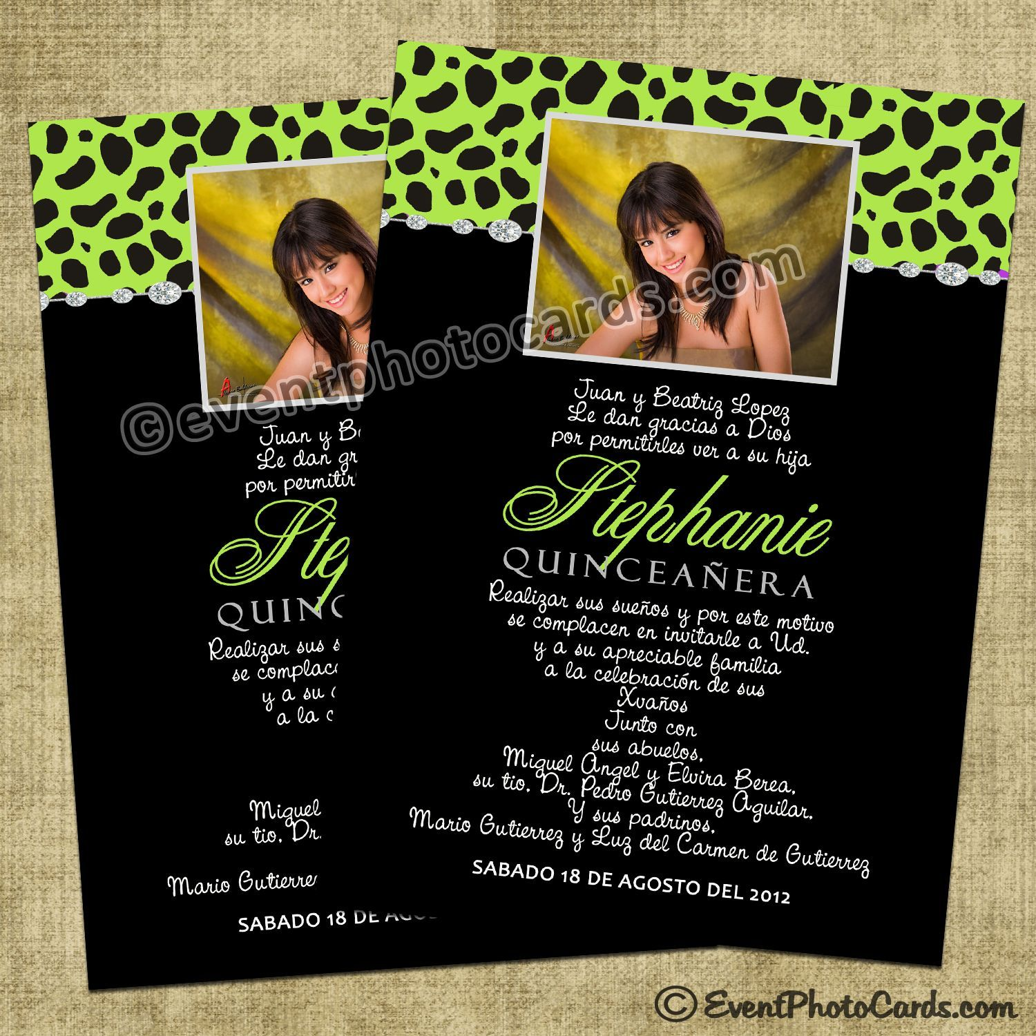 Green Sweet 15 Invitations with Cheetah Pattern | Quinceanera ...