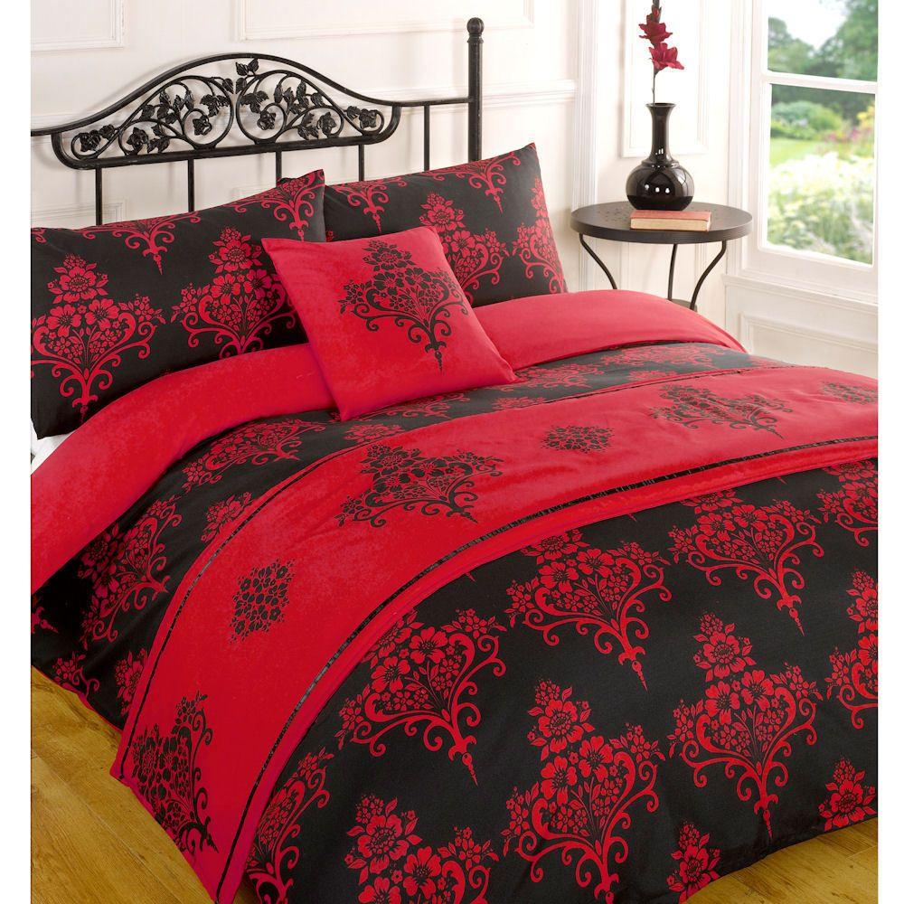 Kate Red Black Floral Duvet Quilt Bedding Bed in a Bag Cushion Cover Runner