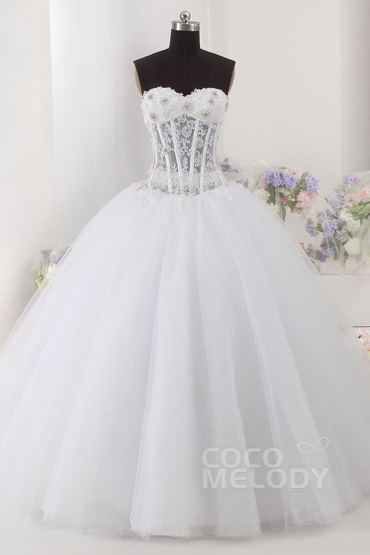 Sweet Ball Gown Sweetheart Natural Floor Length Tulle Sleeveless Lace Upcorset Wedding Dress With Beading And Appliques Php1235000: Sweet Ball Gown Wedding Dress Corset At Reisefeber.org