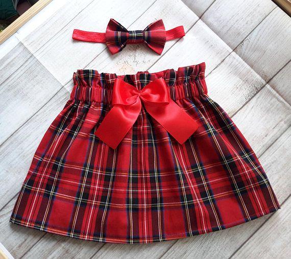 Red tartan toddler skirt and headband set, Christmas outfit, baby girls Christmas outfit , tartan skirt, lined toddler skirt