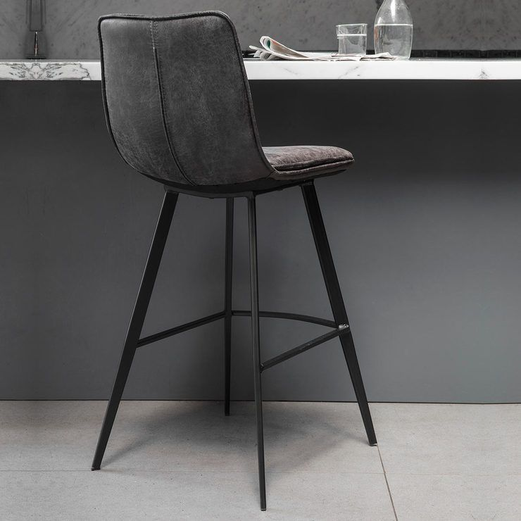 Gallery Palmer Grey Faux Leather Bar Stool 2 Pack Leather Bar