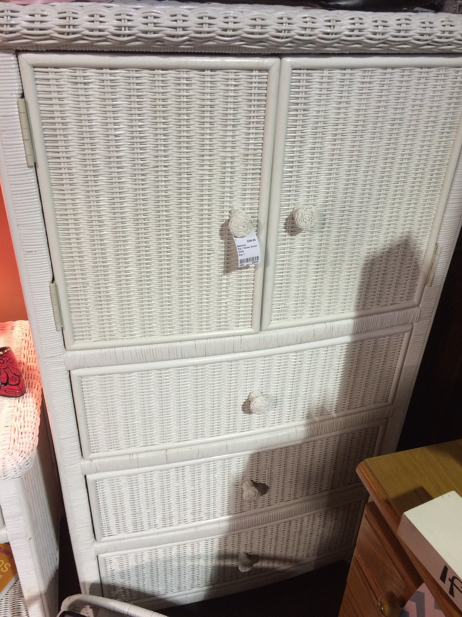 This Pier 1 White Wicker Armoire Also Has Matching Pieces Including A Twin Headboard Chest Of Drawers And Nitestand Home Furnishings Furnishings White Wicker
