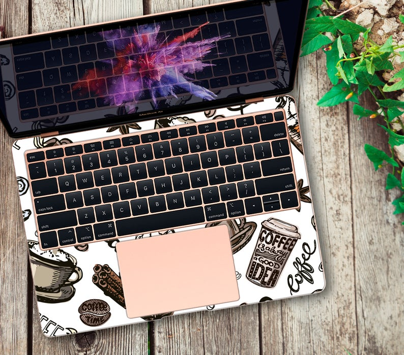Coffee Vinyl Decal MacBook 2018 Coffee Sticker MacBook Air 13 Skin Mac