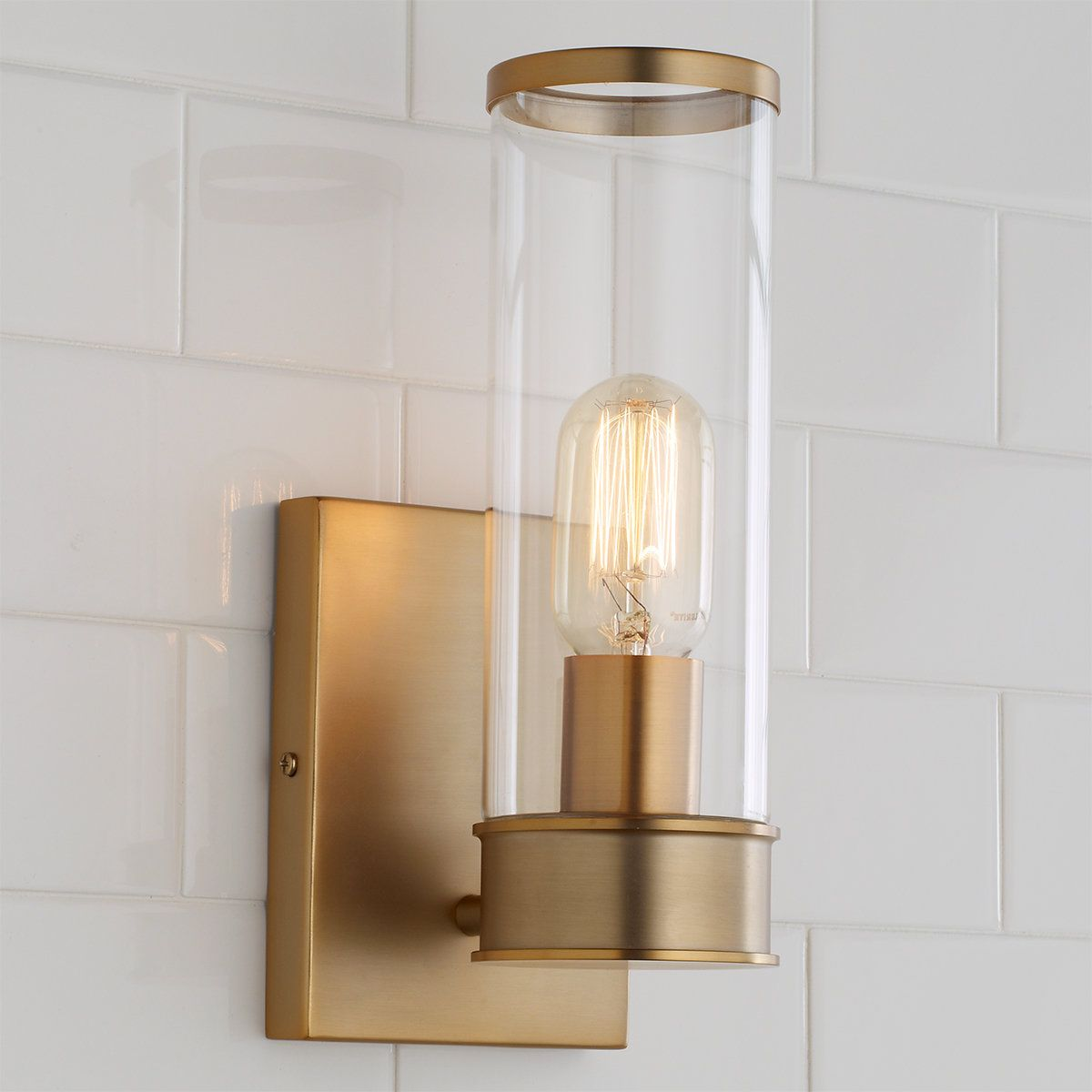 Simple Glass Cylinder Sconce 1 Light In 2020 Sconces Contemporary Wall Sconces Wall Sconce Shade