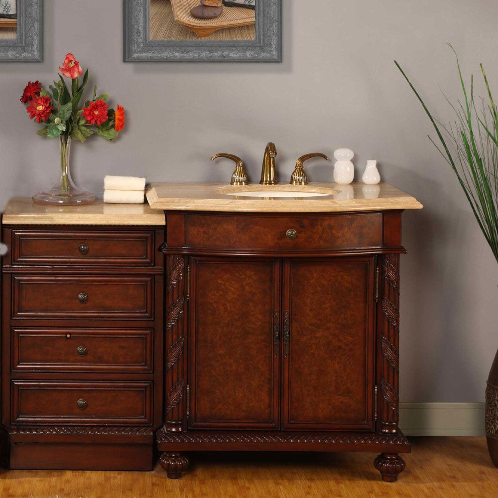 Featuring Anti Slam Door Hinges And Full Extension Ball Bearing Drawer Glides This Vanity Has A Lovely Travertine Top Elegant With Its White