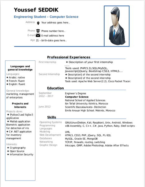 Resume Templates For Libreoffice Cv Template Shanwawaz