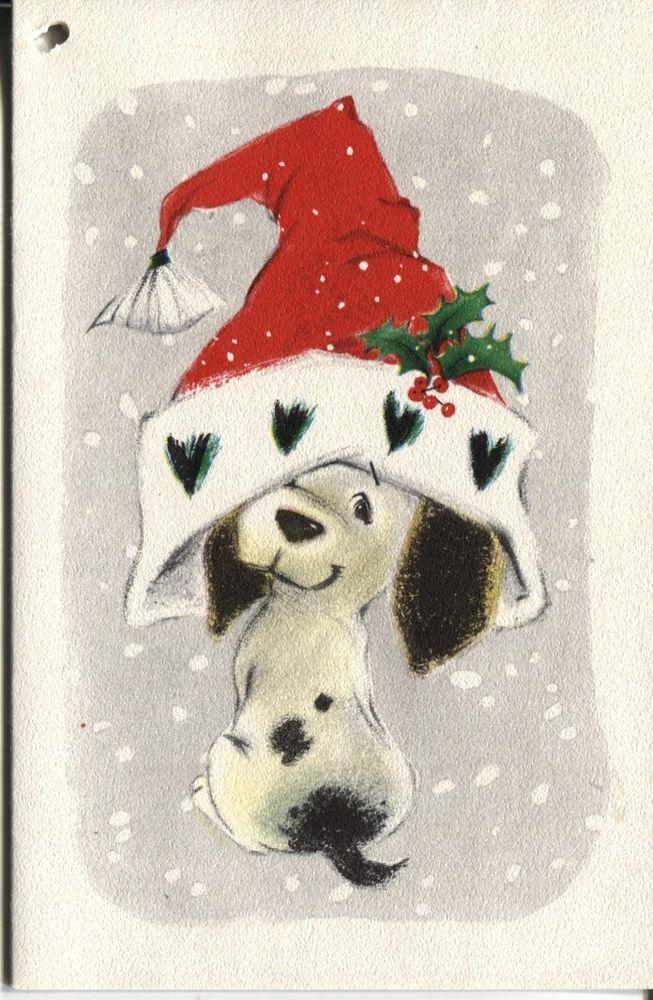vintage hallmark christmas card dog in santa hat. Black Bedroom Furniture Sets. Home Design Ideas