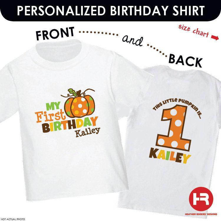 Pumpkin Birthday Shirt or Onesie Front/Back Shirt 1st