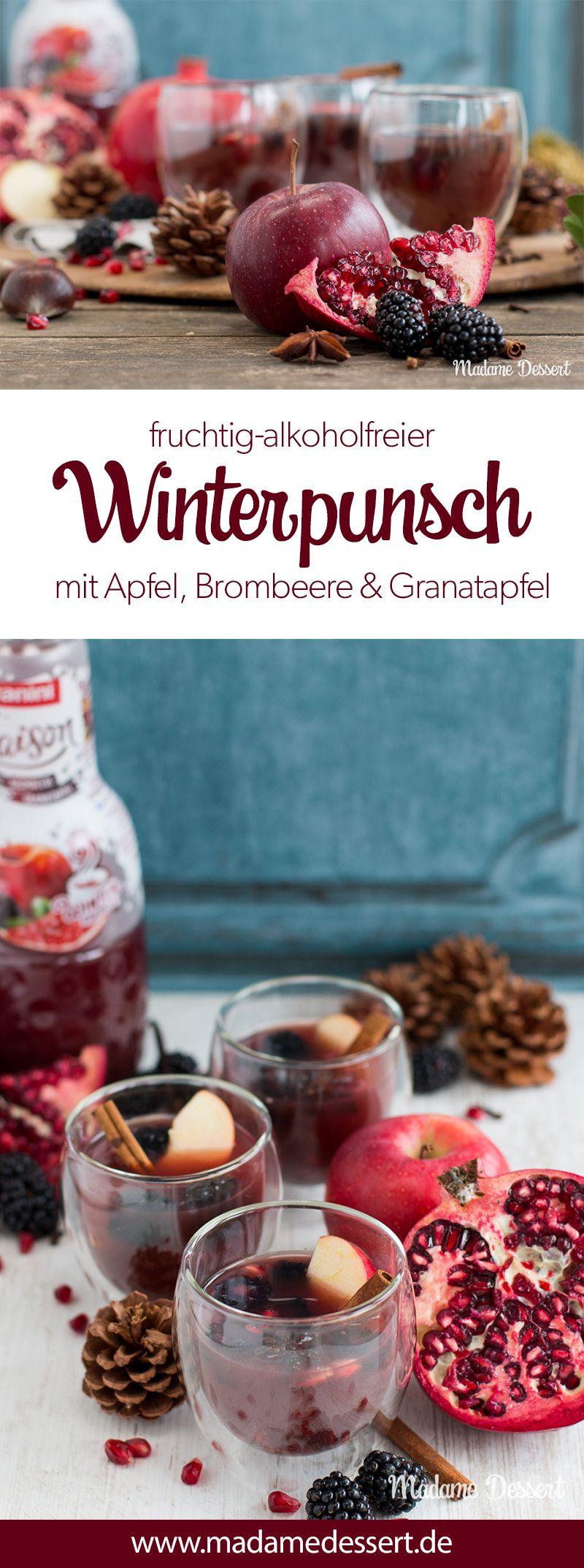 Alkoholfreier Punsch mit Apfel, Brombeere & Granatapfel