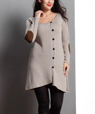 Oatmeal Elbow Patch Side-Button Tunic