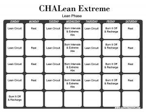 Chalean Extreme Lean Phase  Dvd Fitness Schedules