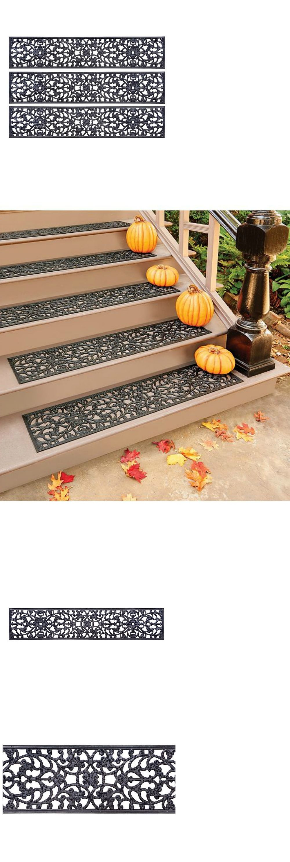 Elegant Stair Treads 175517: Decorative Rubber Stair Treads 48 Extra Wide Scroll  Design Set Of 3
