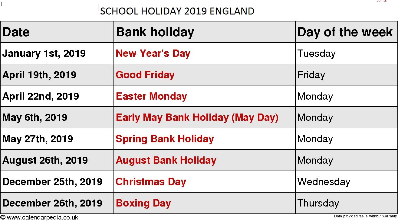 School Holidays 2019 Calendar England Printable May 2019 Calendar Dowload Holiday Calendar Holiday Day August Bank Holiday