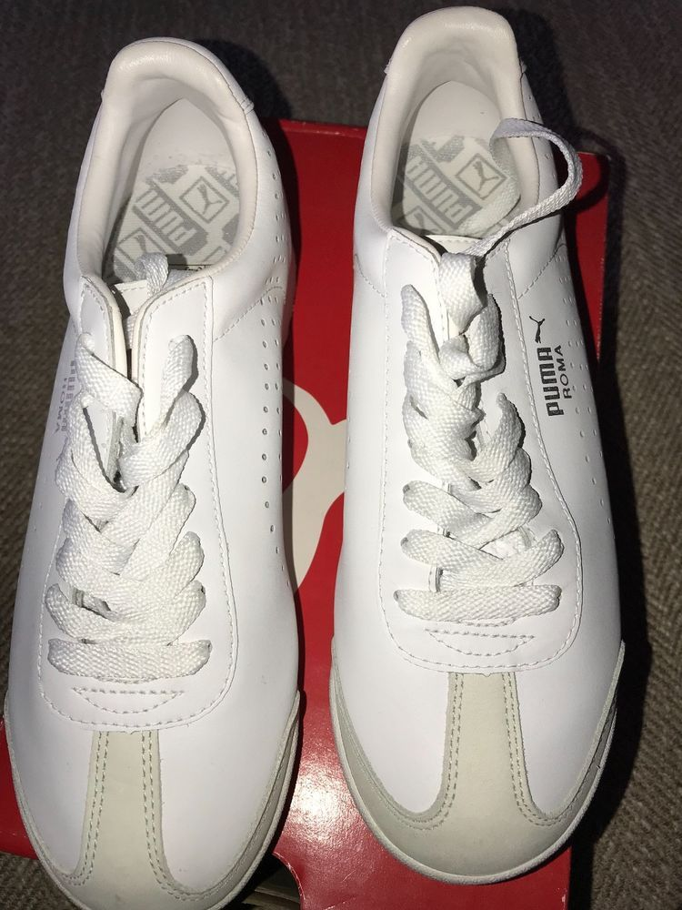 75fb3d98a72 Women s White-Silver PUMA Roma Sneakers Size 7  fashion  clothing  shoes