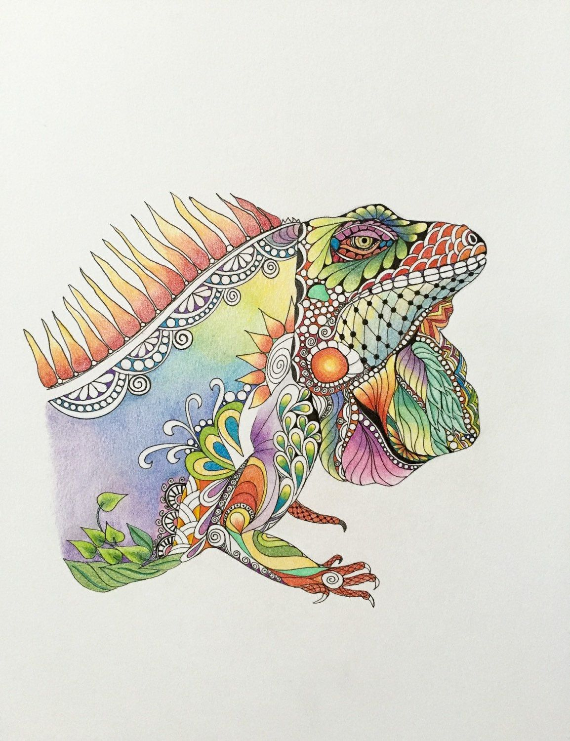 Zentangle Iguana Iguana Art Colored Zentangle Reptile Art Ink Etsy Zentangle Drawings Coloring Book Art Zentangle Art