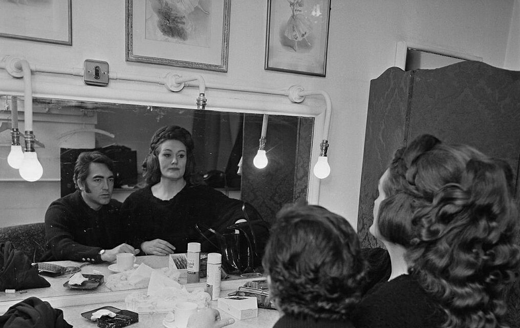 Joan Sutherland with her conductor husband, Richard Bonynge, pre-performace of Bellin's Norma, The Met. c.1960